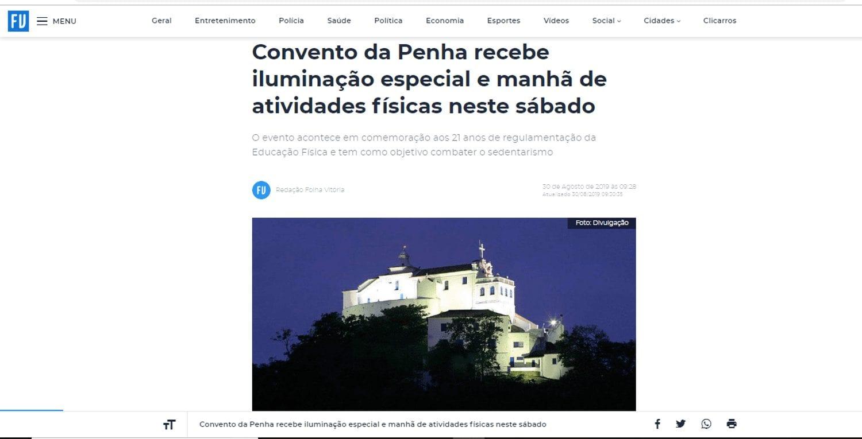 FOLHA VITÓRIA: Convento da Penha recebe iluminação especial e manhã de atividades físicas neste sábado